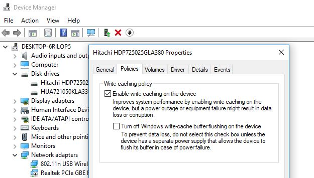 Enable Write Caching for Hard Disk Drives