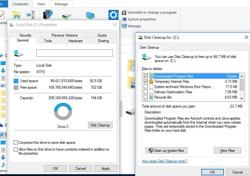 cleanup system files disk cleaner