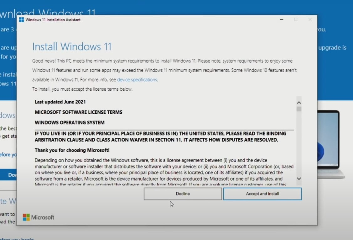 Windows 11 installation assistant license terms
