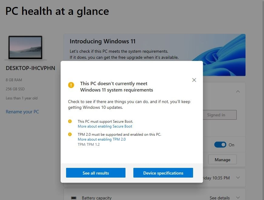 Windows 11 system requirement